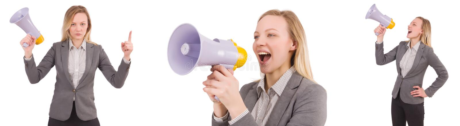 The businesswoman with bullhorn isolated on white. Businesswoman with bullhorn isolated on white royalty free stock photo