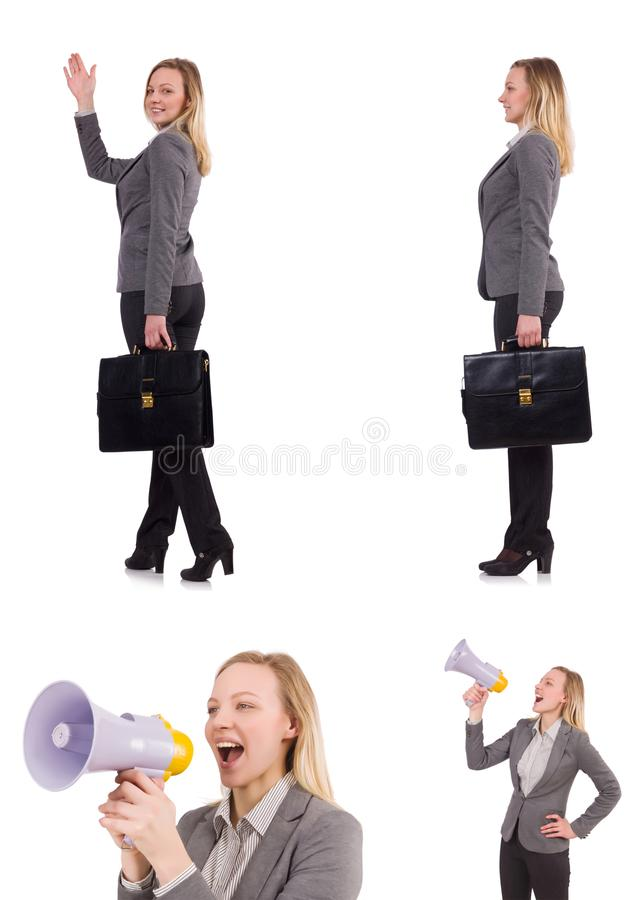 The businesswoman with bullhorn isolated on white. Businesswoman with bullhorn isolated on white royalty free stock photos