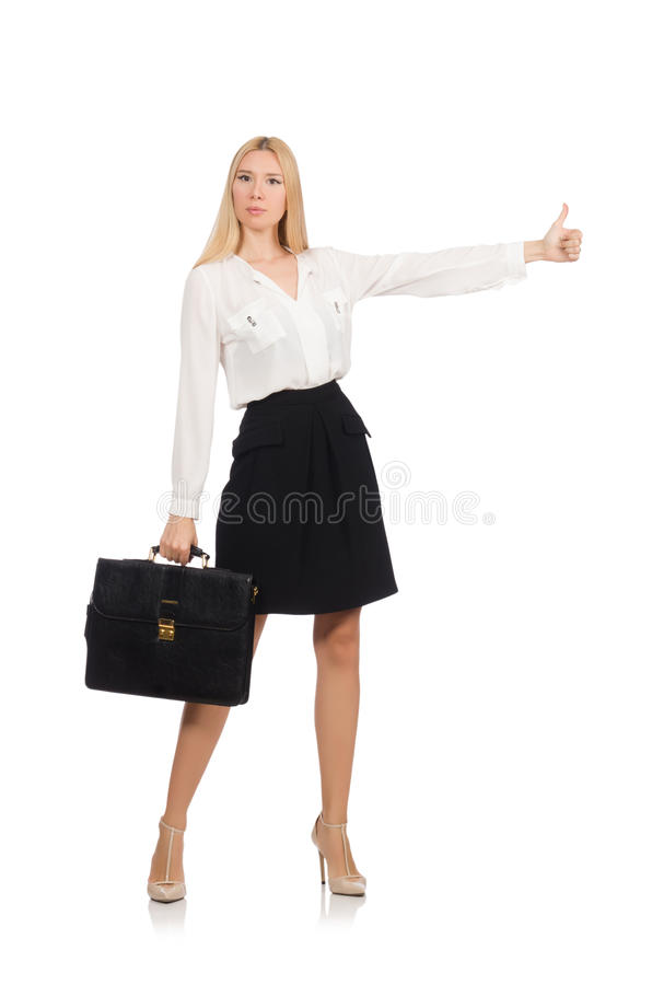 Businesswoman in business concept isolated. On white stock photography