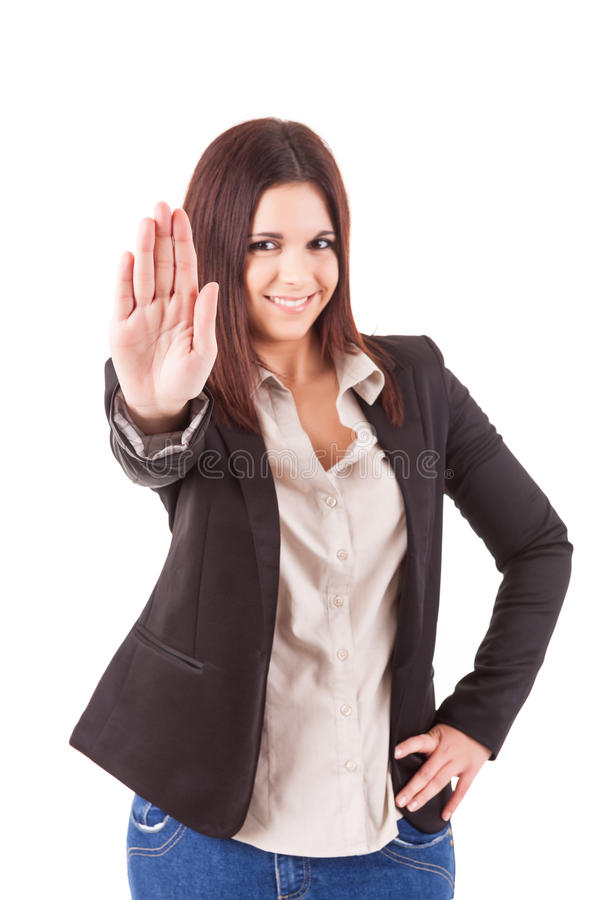 Businesswoman. Business woman making stop sign stock images