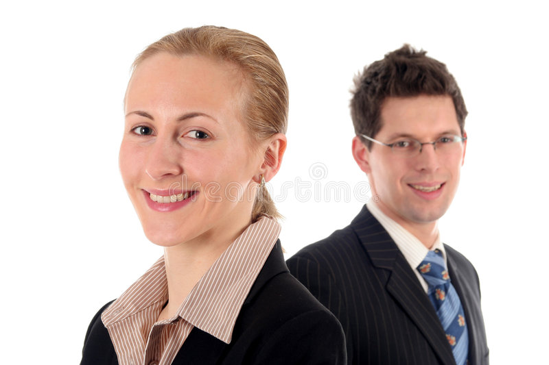 Businesswoman and businessman stock photo