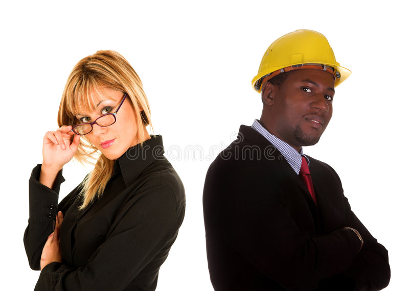 Businesswoman and businessman stock images