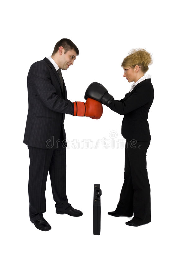 Businesswoman and businessman boxing. royalty free stock photos