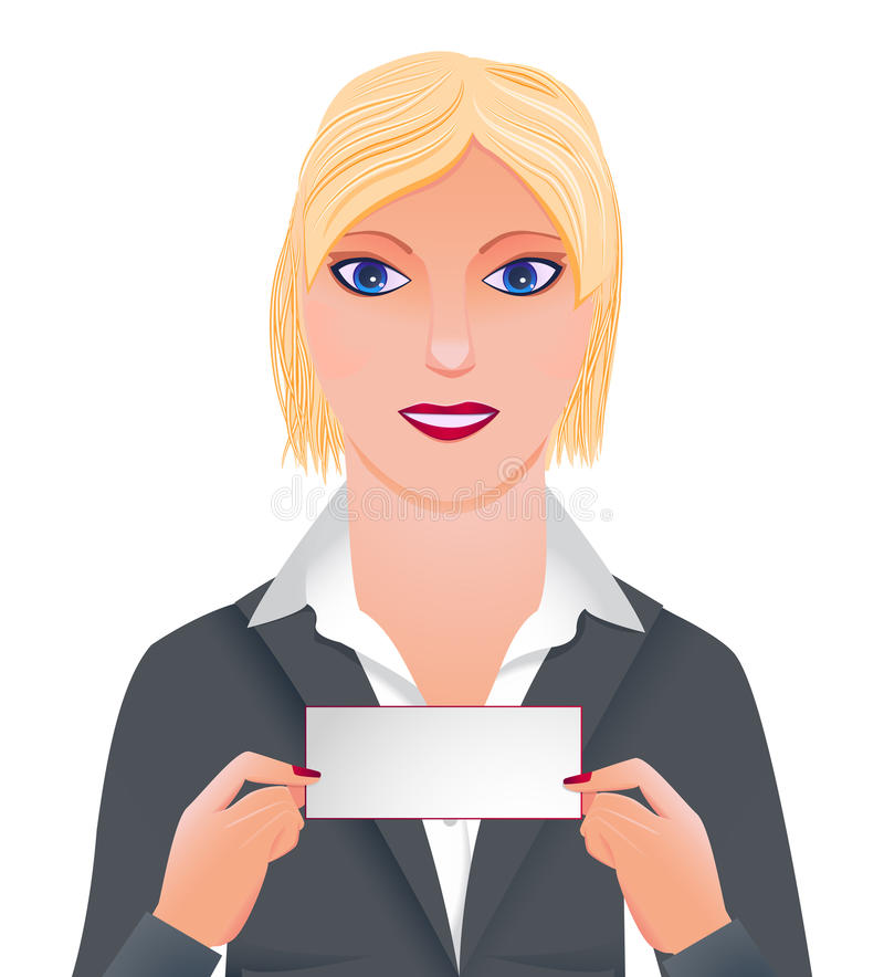 Businesswoman With Card Stock Images