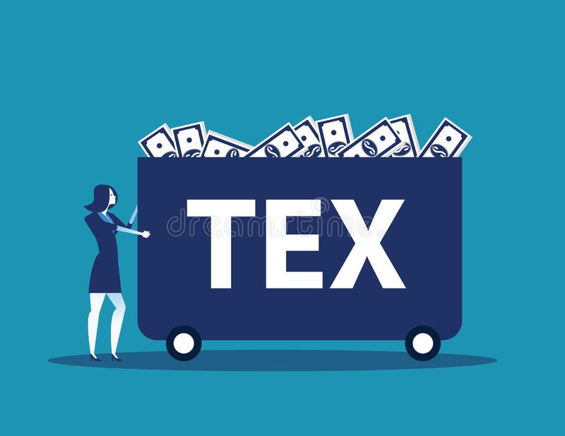 Businesswoman carrying money with tax. Concept business tax vector illustration stock illustration