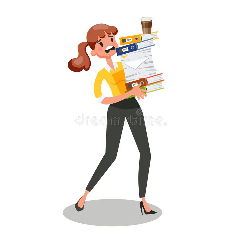 Businesswoman carrying pile of documents. Busy female character. stock illustration