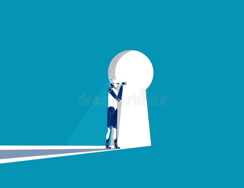 Businesswoman cautious looking out form through large lit up keyhole. Concept business vector illustration stock illustration