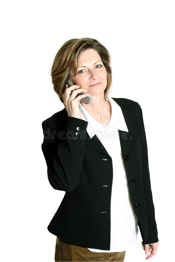 Businesswoman on cellphone royalty free stock photography
