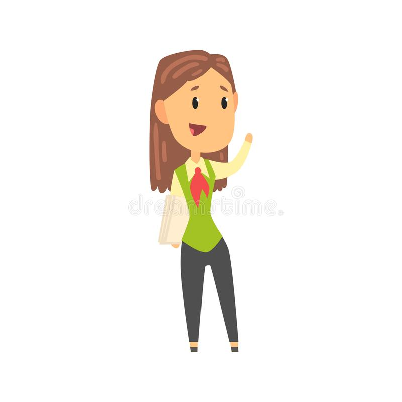 Businesswoman character in formal wear standing with documents and waving her hand, business person at work cartoon stock illustration
