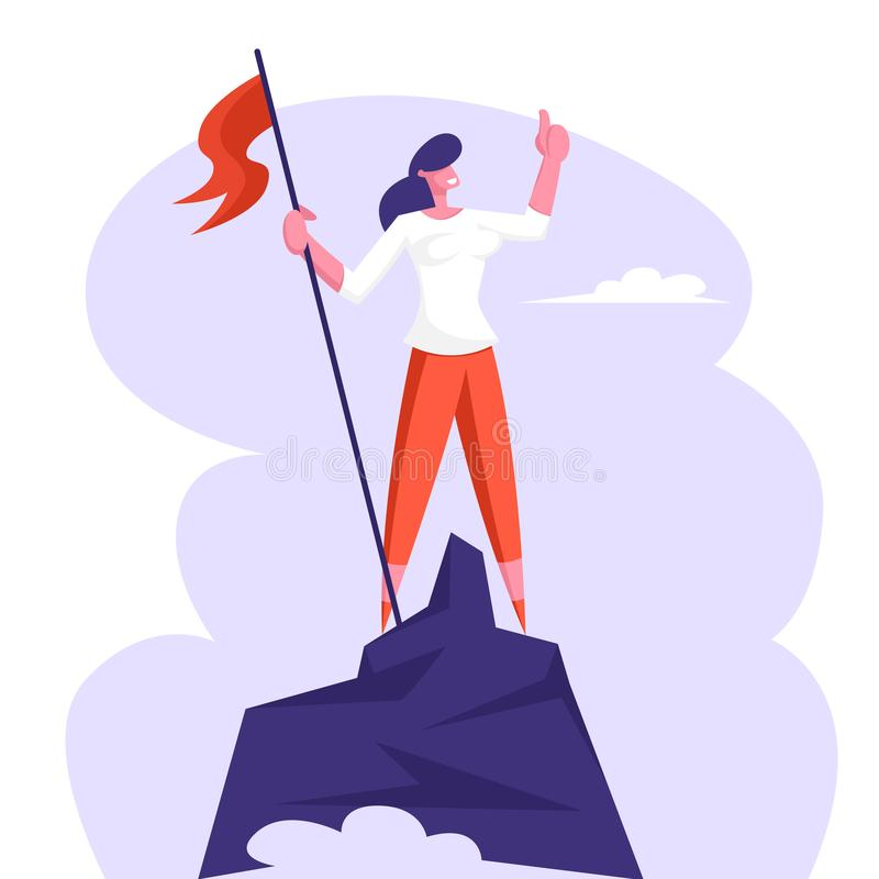 Businesswoman Character Hoisted Red Flag on Mountain Top. Business Woman on Peak of Success. Leadership, Winner royalty free illustration