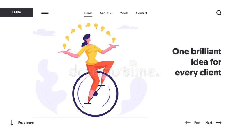 Businesswoman Character Racing Leadership Competition Website Landing Page. Business Woman Riding Monowheel. Juggling with Light Bulbs. Creative Idea Web Page vector illustration
