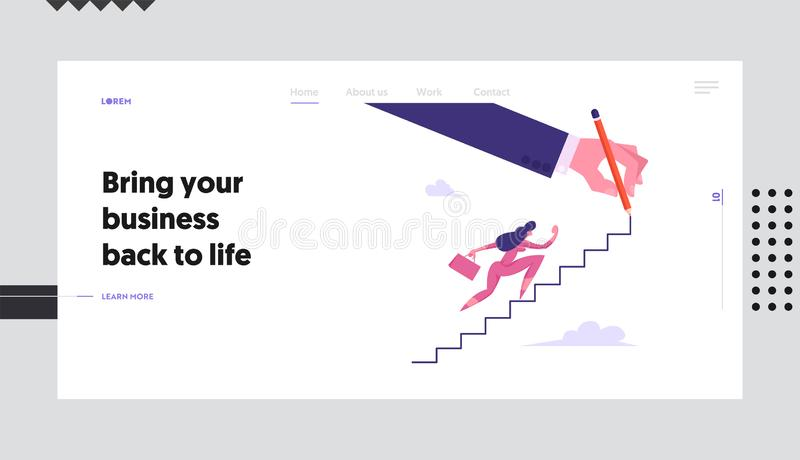 Businesswoman Character with Suitcase Climbing Upstairs Website Landing Page, Financial Success, Business Woman. Goal Achievement, Leadership Concept, Web Page royalty free illustration