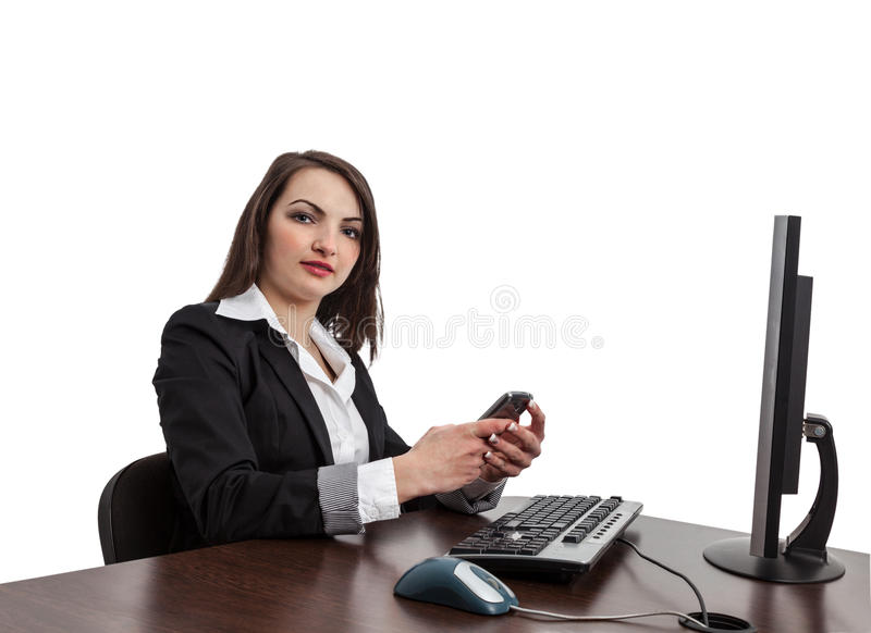 Businesswoman Checking Her Mobile Stock Photography