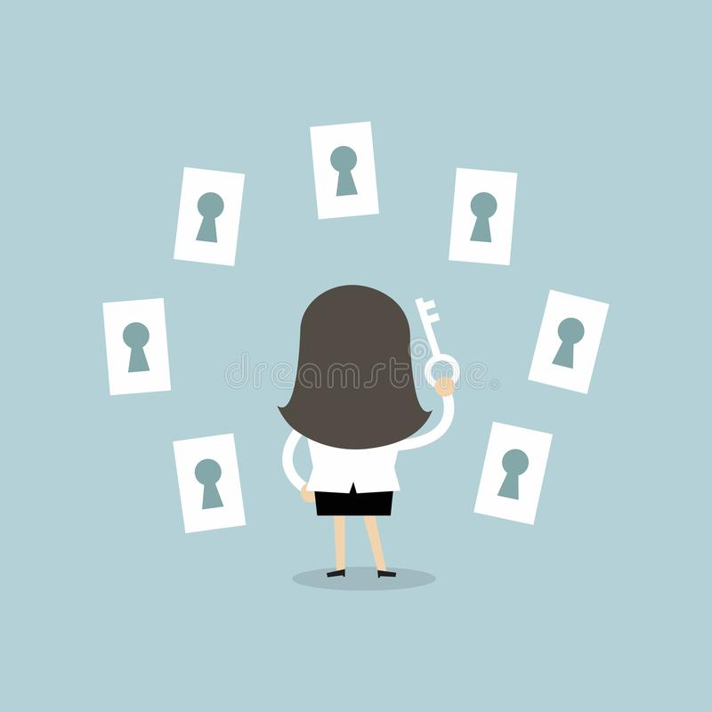 Businesswoman choosing the right keyhole. stock illustration