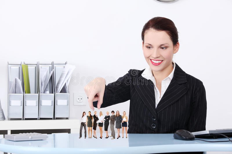 Businesswoman choosing worker. royalty free stock photos