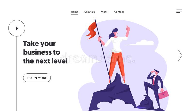 Businesswoman Climbed to Top of Mountain Hoisted Flag to Rock Peak, Success, Business Challenge, Goal Achievement vector illustration