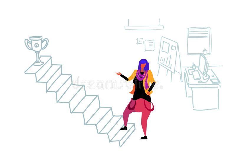 Businesswoman climbing career ladder prize first place motivation concept woman champion cup victory strategy modern. Office interior flat doodle horizontal stock illustration