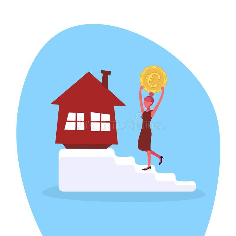 Free Businesswoman Climbing Stairs Investing Money Euro Coin House Buying Concept Woman Motivation Goal Realty Investment Stock Photo - 124849410