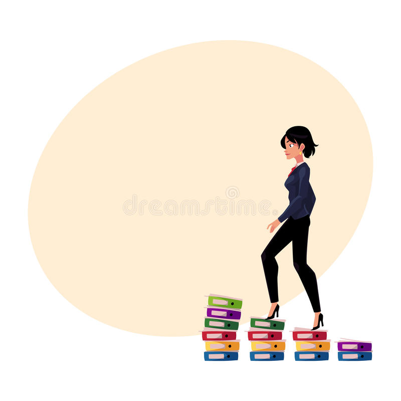 Businesswoman climbing up career ladder shown as document folder steps. Young pretty businesswoman climbing up career ladder shown as document folder steps royalty free illustration