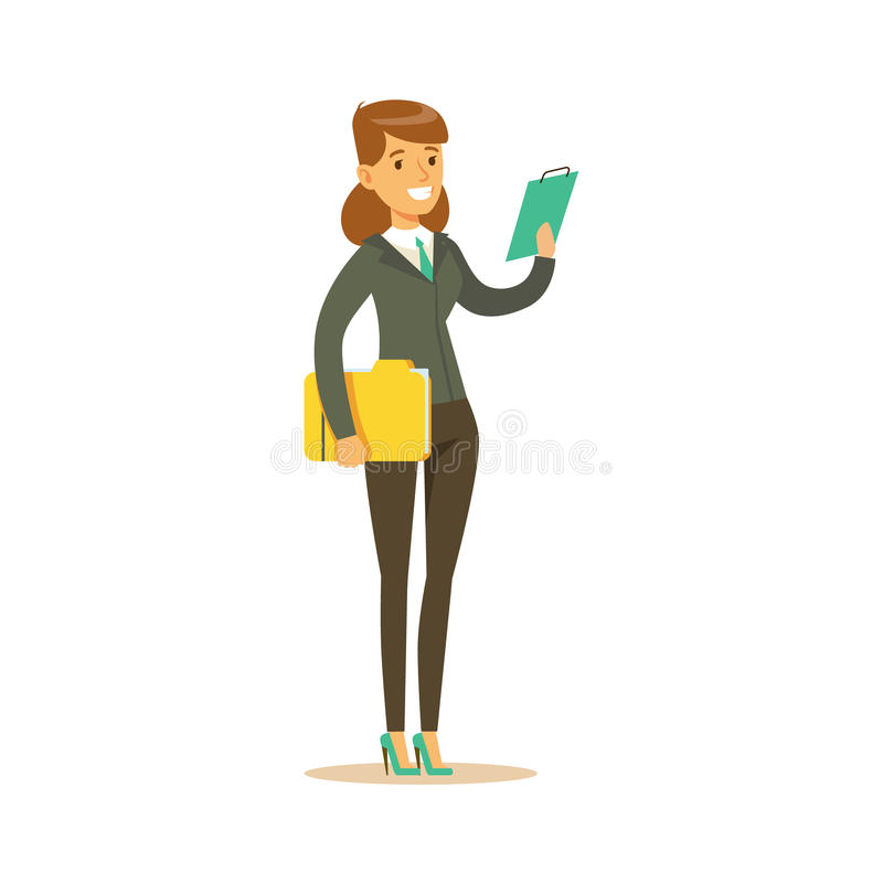 Businesswoman With Clipboard, Business Office Employee In Official Dress Code Clothing Busy At Work Smiling Cartoon. Characters. Part Of Marketing And vector illustration