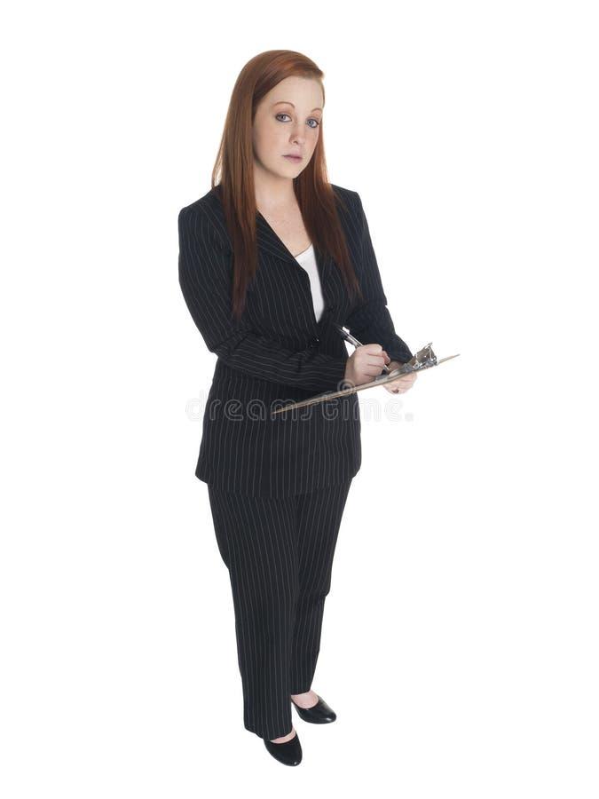 Businesswoman - clipboard survey stock image
