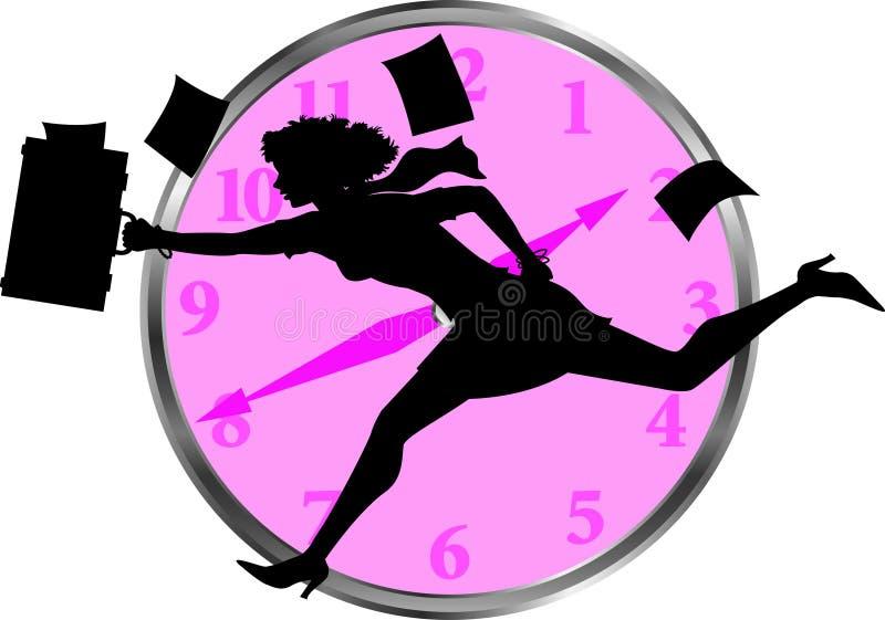 Businesswoman_clock stock de ilustración