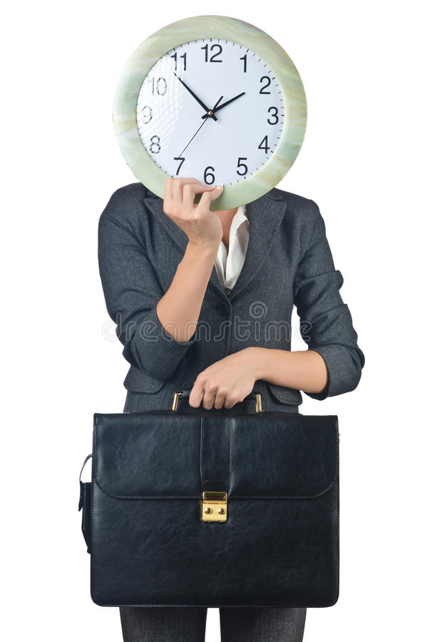 Businesswoman with clock isolated