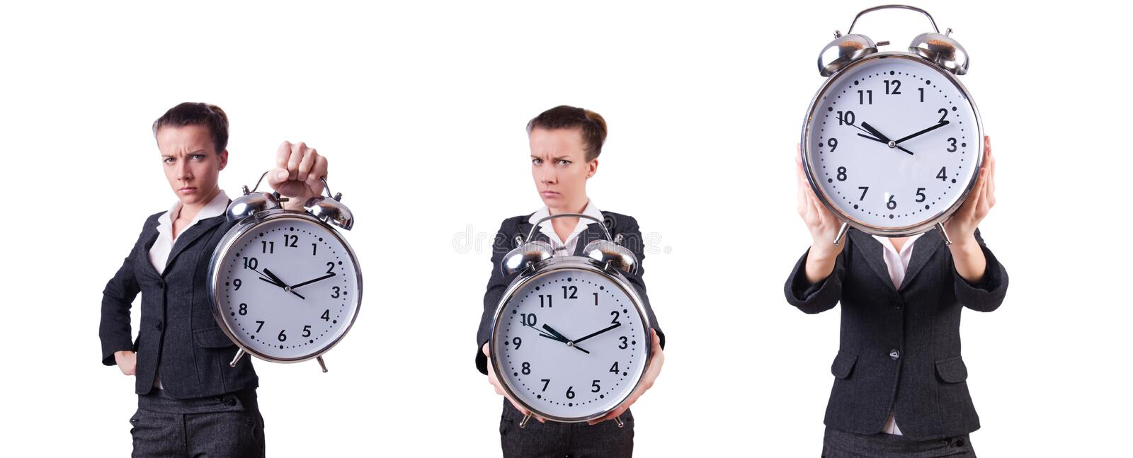 Businesswoman with clock missing her deadlines stock images