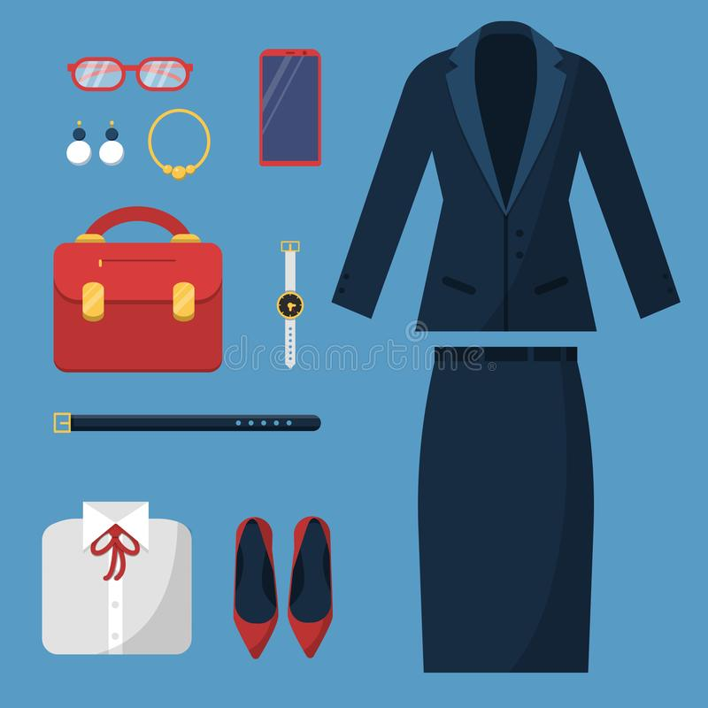 Businesswoman clothes. Fashion female office casual style wardrobe skirt jacket suit hat bag watch business items vector. Top view. Illustration of office royalty free illustration