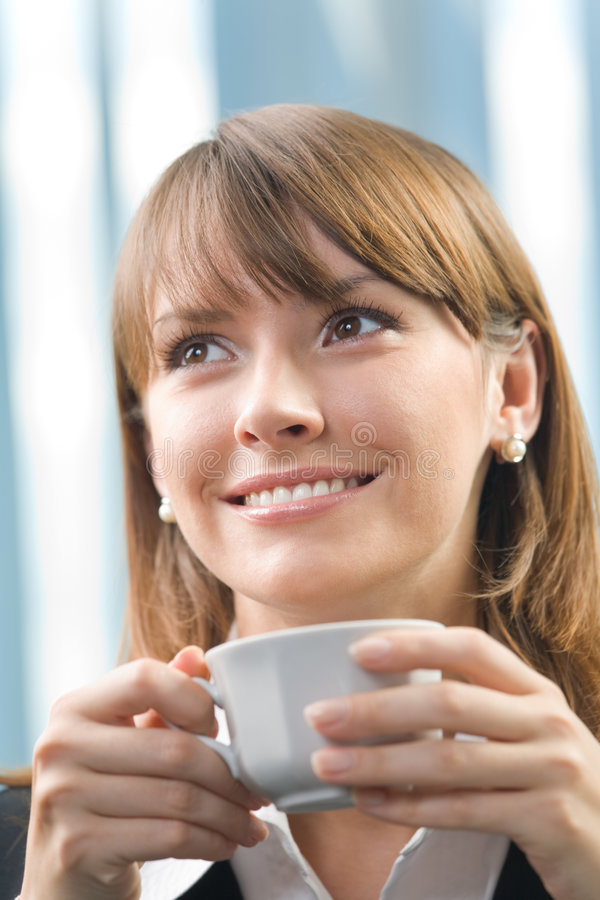 Download Businesswoman with coffee stock image. Image of female - 6602427