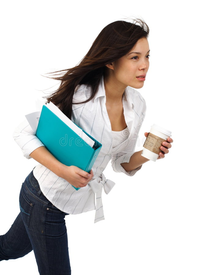 Businesswoman with Coffee in motion royalty free stock photo