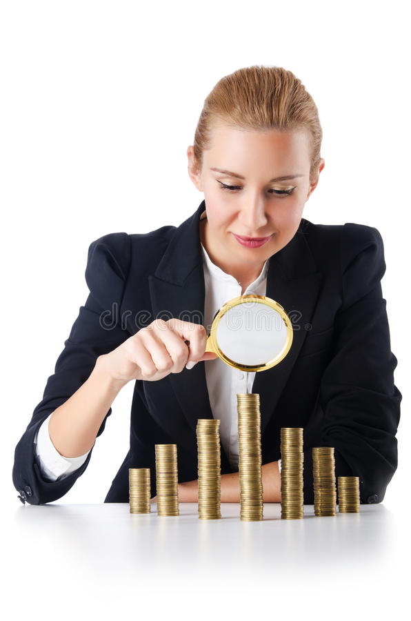 Businesswoman with coins. On white royalty free stock image