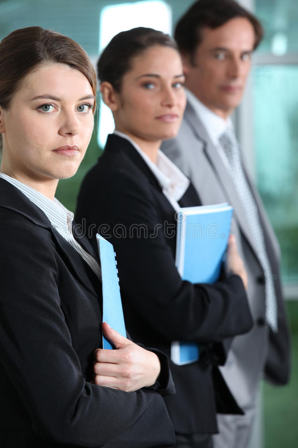 Businesswoman with colleagues. Young businesswoman with her colleagues royalty free stock photos