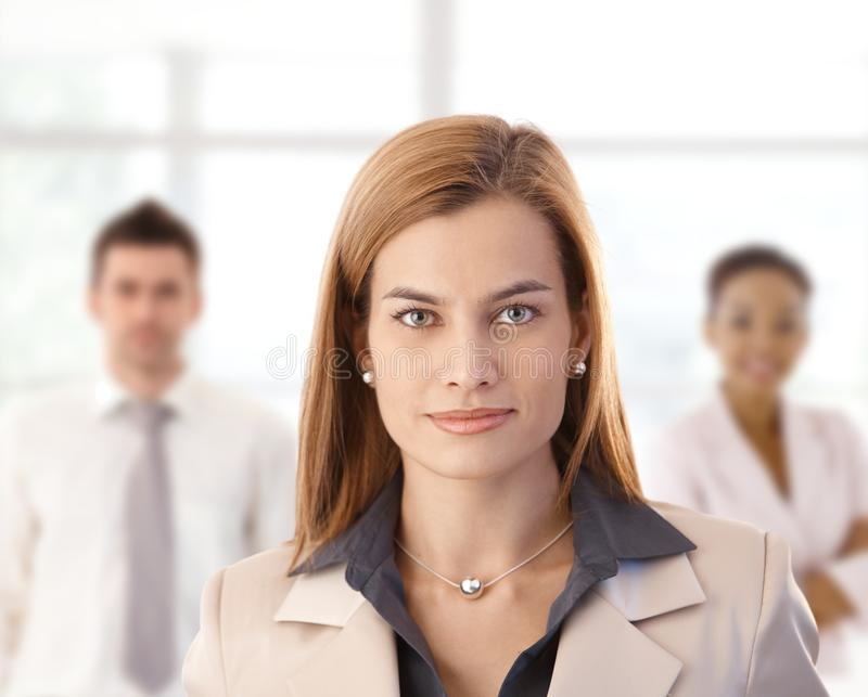 Businesswoman and colleagues in office. Businesswoman and colleagues looking at camera, smiling stock image
