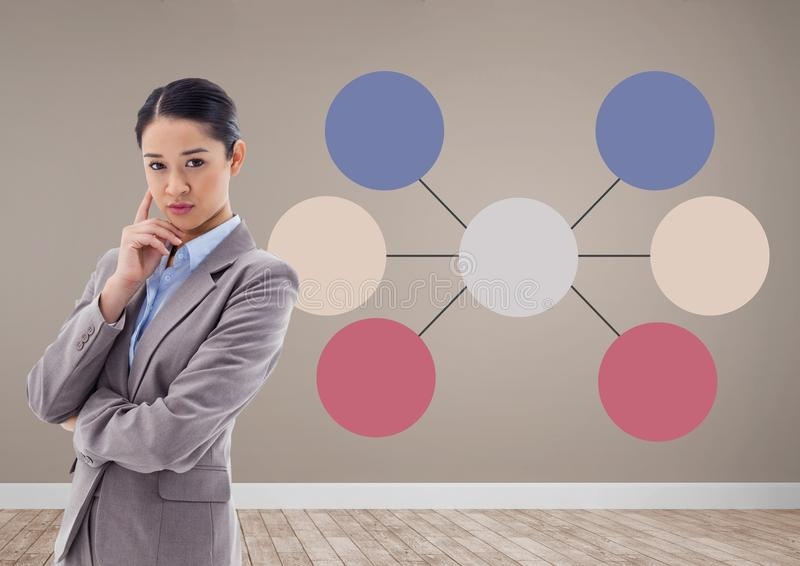 Businesswoman and Colorful mind map over room background stock image