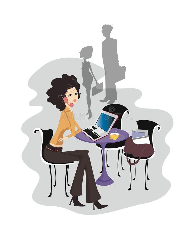 Businesswoman on Computer royalty free illustration