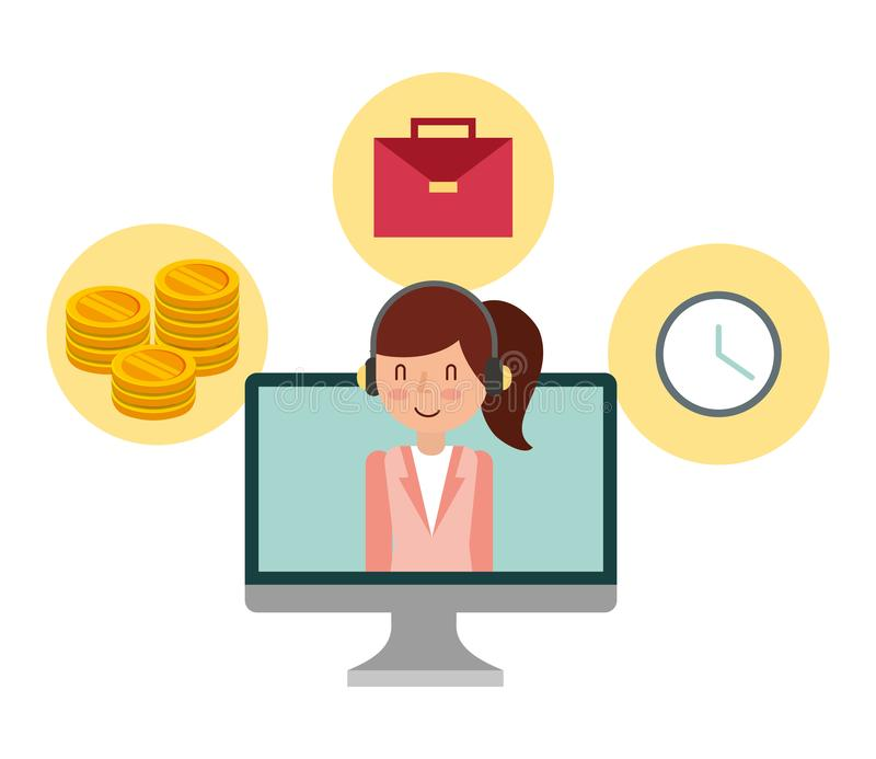 Businesswoman in computer monitor and set icons. Vector illustration design royalty free illustration