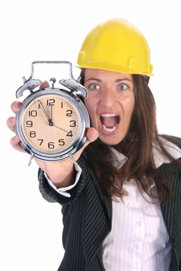 Businesswoman confused and clock stock image