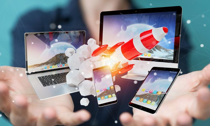 Businesswoman connecting tech devices and startup rocket 3D rend vector illustration