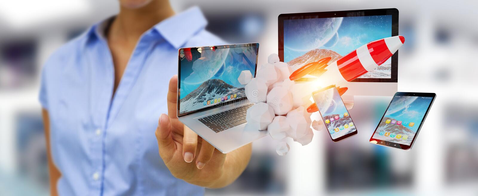 Businesswoman connecting tech devices and startup rocket 3D rend stock illustration