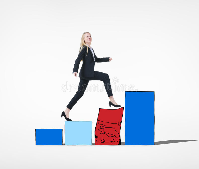 Businesswoman Conquering Adversity Concept. Businesswoman Conquering the Adversity Concept royalty free stock images