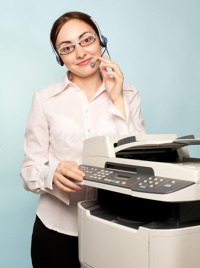Businesswoman With Copier Stock Image