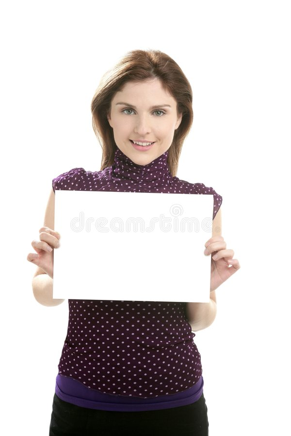 Businesswoman with copy space in hands royalty free stock photos