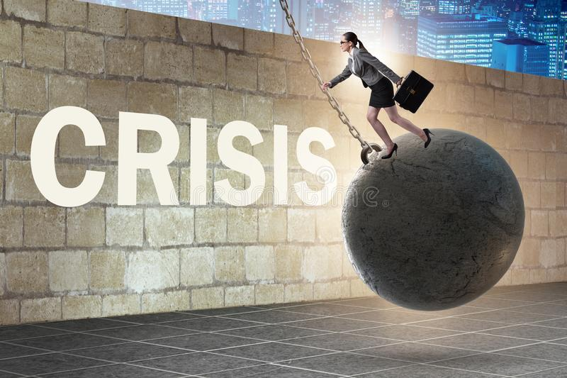 Businesswoman in crisis management concept royalty free stock photography