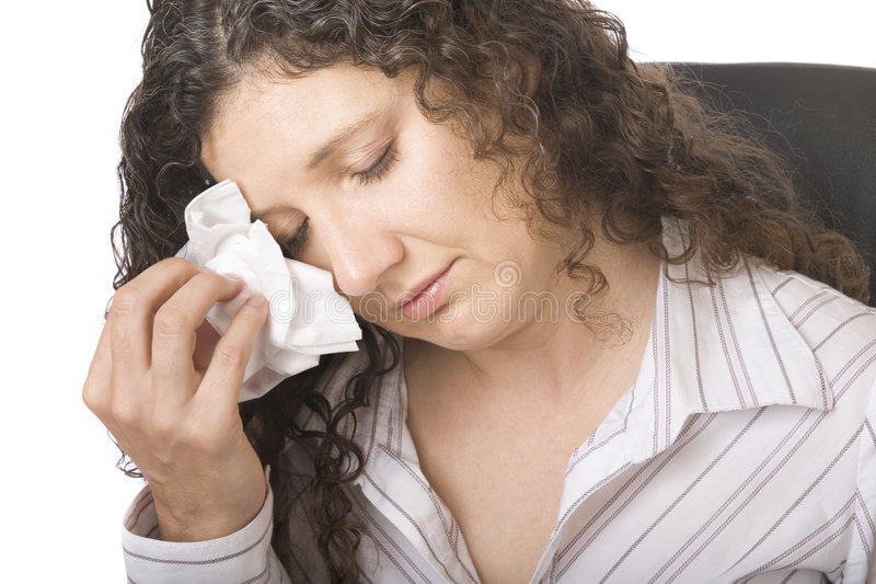 Businesswoman crying. Just been made redundant stock photography