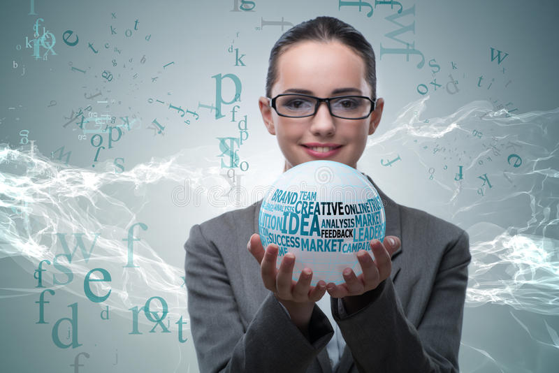 The businesswoman with crystal ball in business concept royalty free stock images