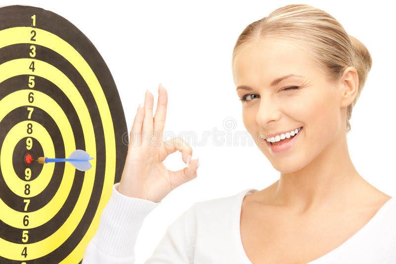 Download Businesswoman With Dart And Target Stock Photo - Image: 40467492