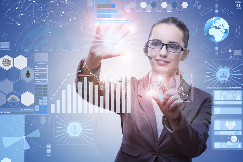 The businesswoman in data mining concept royalty free stock photos