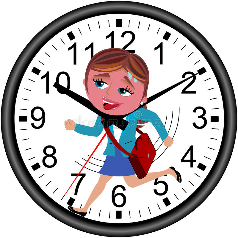 Businesswoman Deadline Clock Running Isolated stock images