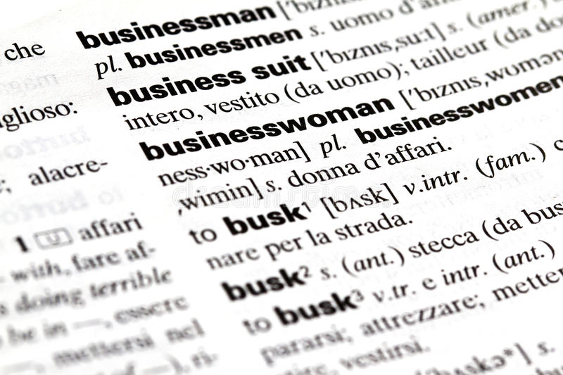 Businesswoman. Definition of the term, english stock photography